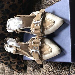 Prada canvas slngback heels
